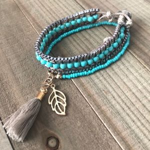 Boho chic beaded 2 piece tassel turquoise bracelet